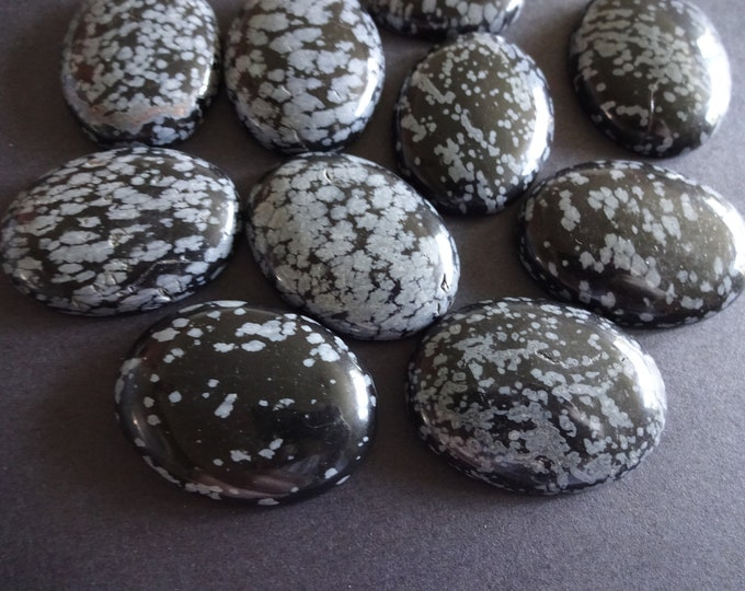 40x30mm Natural Snowflake Obsidian Cabochon, Oval Gemstone Cabochon, Polished Gem, Black and Gray, Beautiful Stone, Unique Gemstone, Jewelry