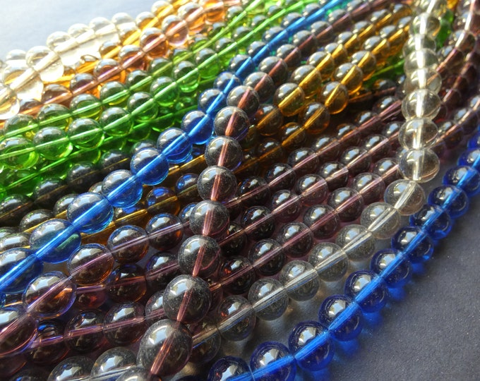 5 Pack 10mm Transparent Glass Ball Bead Strands, About 30 Beads Per Strand, 10mm Round, Classic Basic Bead, Rainbow Bead Lot, Mixed Colors