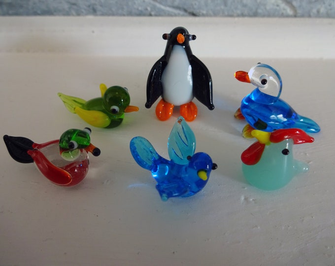 Glass Bird Set, 16-27mm Mini Lampwork Glass Animals, Collect All 6, Penguin, Rooster, Duck and Bird Decorations, Bird Watching Gift