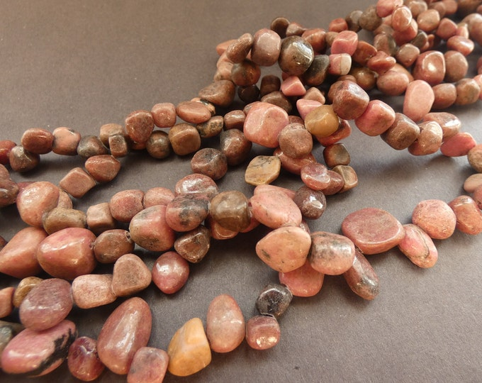15 Inch 8-22mm Natural Rhodonite Bead Strand, About 100 Beads, Pink Mineral, Gemstone Nuggets, Strand Of Rocks, Small Stone Spacer, Polished