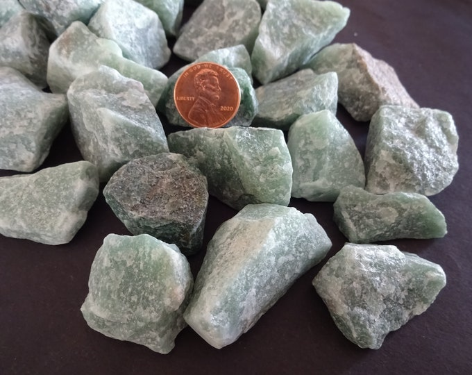 2 PACK Of 21-63mm Natural Green Aventurine Unpolished Stones, Gemstones, No Hole, Decorative Stone, Raw Aventurine Stone, Gemstone Crystal