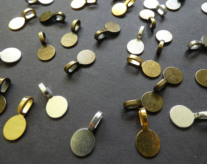 18x10mm Mixed Alloy Metal Glue On Pendant Bails, 6x3.5 Hole, Silver, Gold and Bronze, Flat Round Setting, Jewelry Cab Setting, Metal Bails