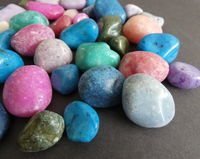 200 GRAMS Natural Undrilled Quartz Nuggets, Dyed, About 20-22 Stones, 10-30mm Each, No Holes, Lot Of Quartz Pieces, Mixed Color, Polished