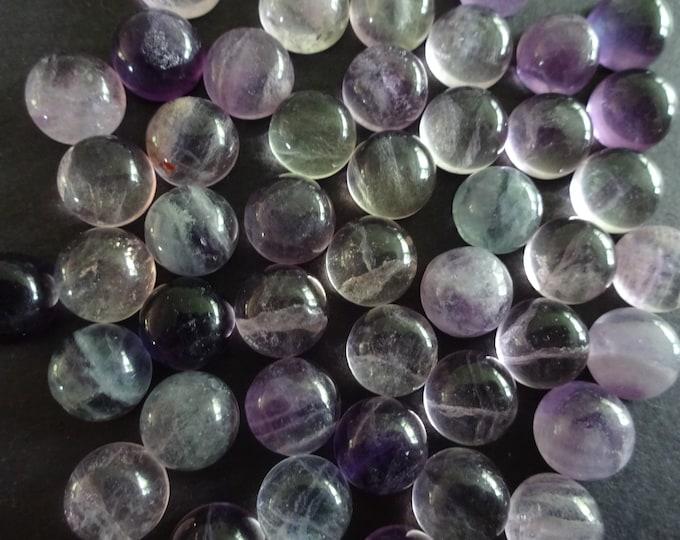 8mm Natural Fluorite Cabochon, Round Gemstone Cabochon, Polished Gem, Small Button Cabochon, Translucent, Polished, Purple & Blue Gem Cab