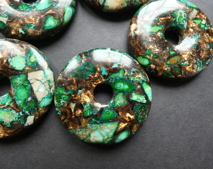 50mm Bronzite and Regalite Donut Pendant, Dyed & Synthetic, Green With Bronze Swirls, Gemstone Stone, Polished Necklace Gem, Large 10mm Hole