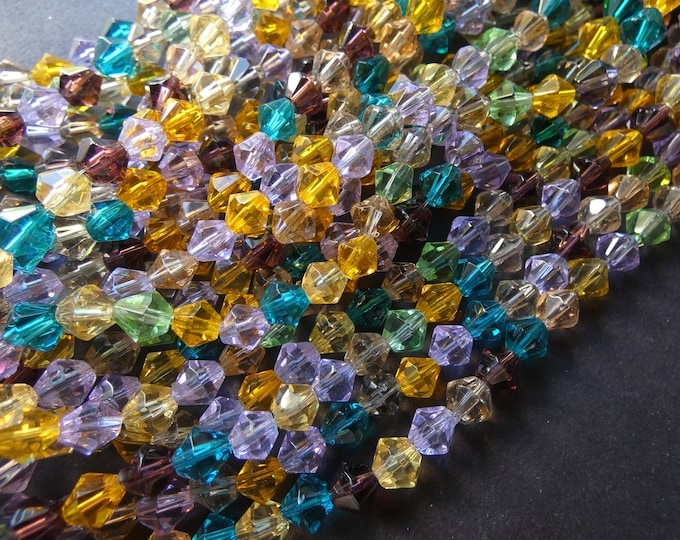 13 Inch 6mm Glass Faceted Bicone Bead Strand, About 52 Beads, 6mm Beads, Classic Bead, Basic Bead, Rainbow Bead Lot, Mixed Colors, 1mm Hole