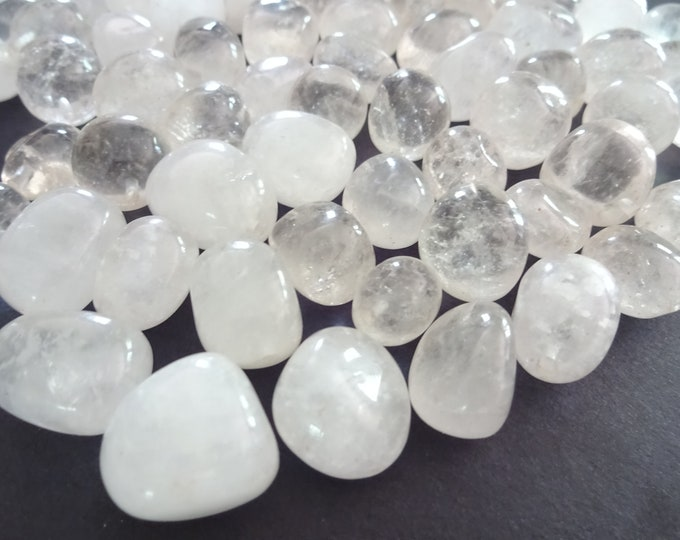 5 PACK 11-21mm Natural Half Drilled Quartz Beads, Polished Nuggets, Clear Gemstones, Earring Stones, Mixed Quartz Stones, HALF DRILLED