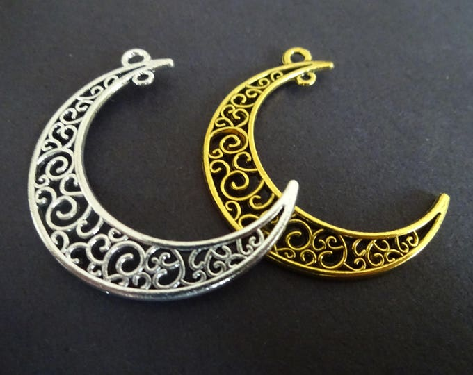 37mm Alloy Metal Moon Link, Tibetan Metal Link, Antiqued Moon, Silver or Gold Color, Fancy Embellished Moon, Crescent Moon, Moon Pendant