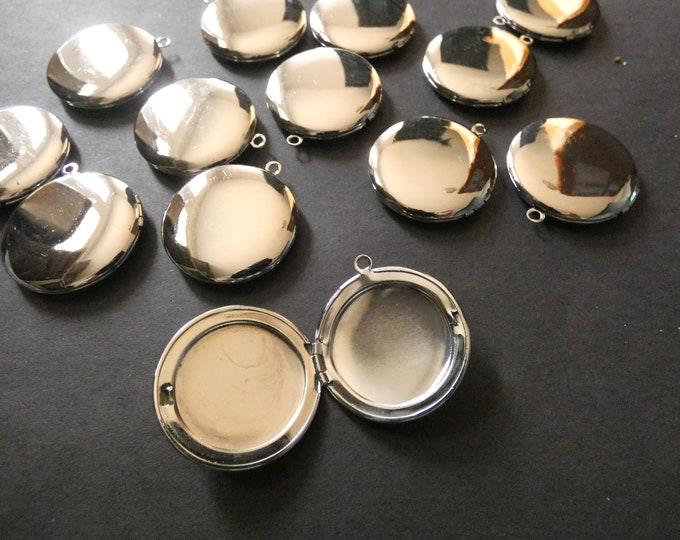 32.5mm Brass Locket Pendant, Platinum Circle Pendant, Flat Round, Custom Jewelry Making, DIY Basic Photo Locket Charms, Shiny Silver Charm