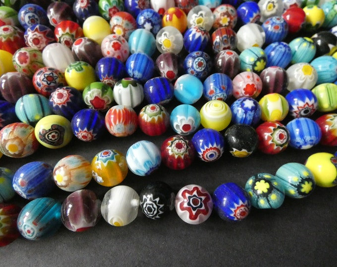 16 Inch 12mm Glass Millefiori Bead Strand, About 31 Glass Ball Beads, Mixed Lot, Multicolor Bead, Flower Bead, Star Bead, Large Ball Bead