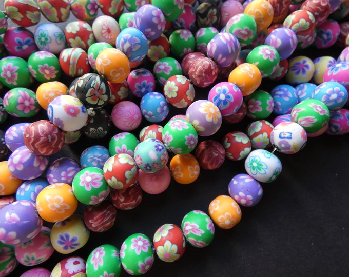 16 Inch 10mm Polymer Clay Ball Bead Strand, About 40 Beads, 10mm Round Clay Beads, Mixed Colors, Floral Patterns, Flower Design, Mixed Lot