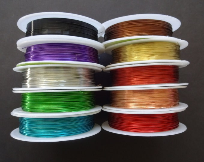 10 Pack Of 0.4mm Copper Wire, 10 Different Colors!, 140 Meters Total, Bulk Wire Mixed Lot, Spools For Beading and Jewelry Making, Rainbow