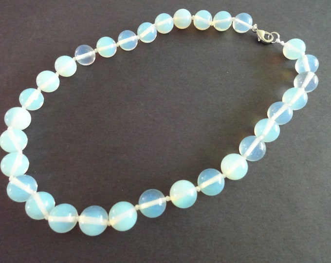 Opalite Ball Bead Necklace, 18 Inch Long, Large Ball Beads, Opalescent Clear Gemstone, With Lobster Claw Clasp,  Gemstone Beaded Jewelry