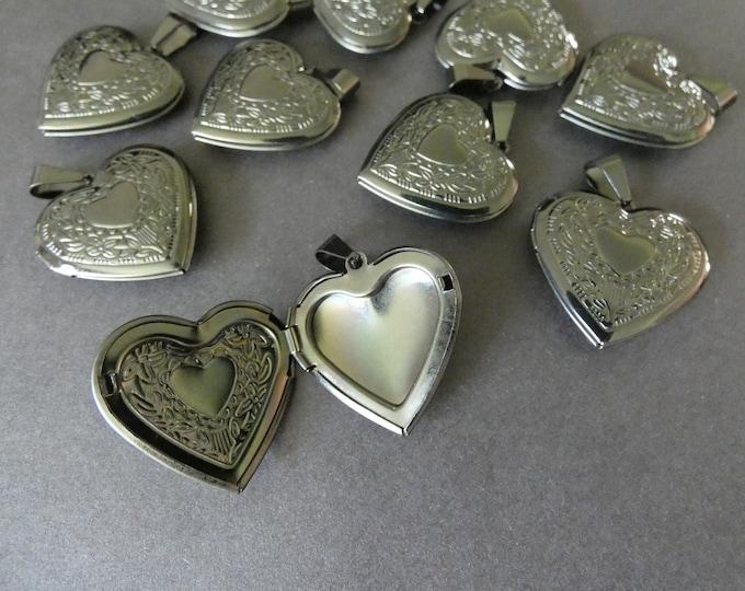304 Stainless Steel Heart Locket Pendant, 29x29mm Gunmetal Heart Pendant, Metal Focal, Necklace Jewelry Making, Photo Locket Charms