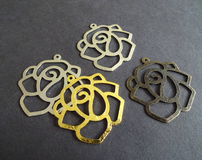 34mm Iron Rose Flower Pendant, Metal Floral Focals, Antique Silver, Gunmetal and Gold Color, Mixed Variety, Multicolor Charms, Slice Pendant