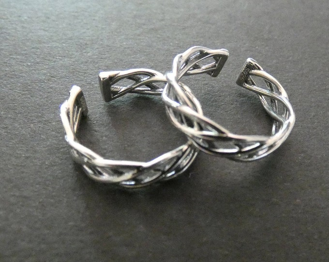 Thai Sterling Silver Celtic Ring, Adjustable Silver Band, Link Cuff Ring, Twisted Pattern, Jewelry For Her, Classic Silver Color