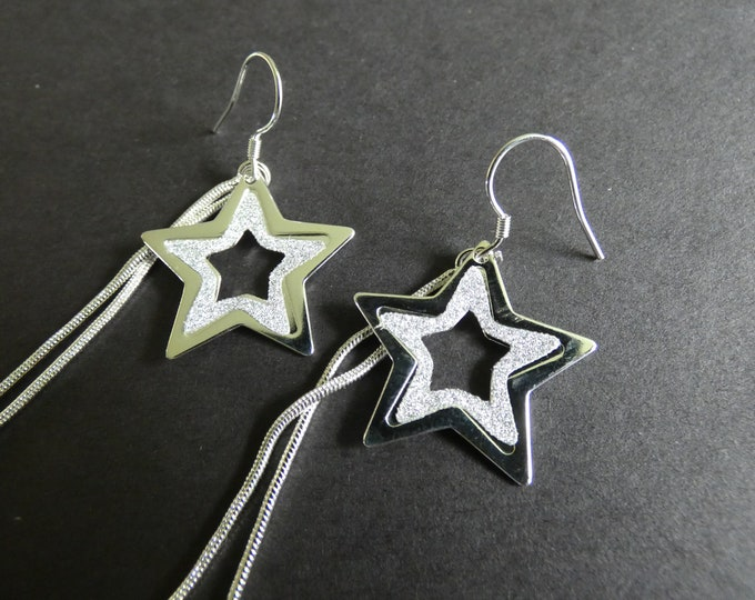 Brass Star Earrings, Silver Color, Cute Star Dangles, Stardusted, Metal Fish Hook, Fashion Earrings, For Pierced Ears, Extra Long. 91mm