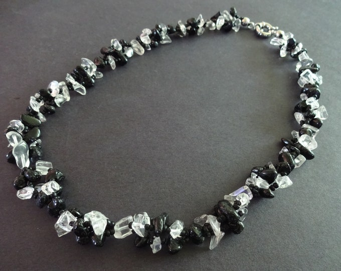 19.3 Inch Natural Black Agate and Quartz Bead Necklace, With Glass Seed Beads, Stone Chips, Black & Clear, Nugget Beads, Spring Clasp