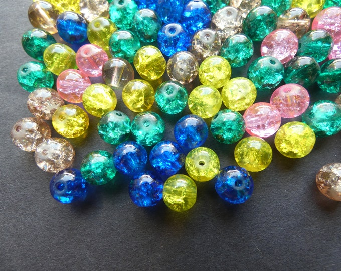 8mm Crackle Glass Ball Bead Mix, Rainbow Pastel Mix, Mixed Lot, Transparent, Pretty Jewelry Beads, Round, Pink, Blue, Purple and Clear