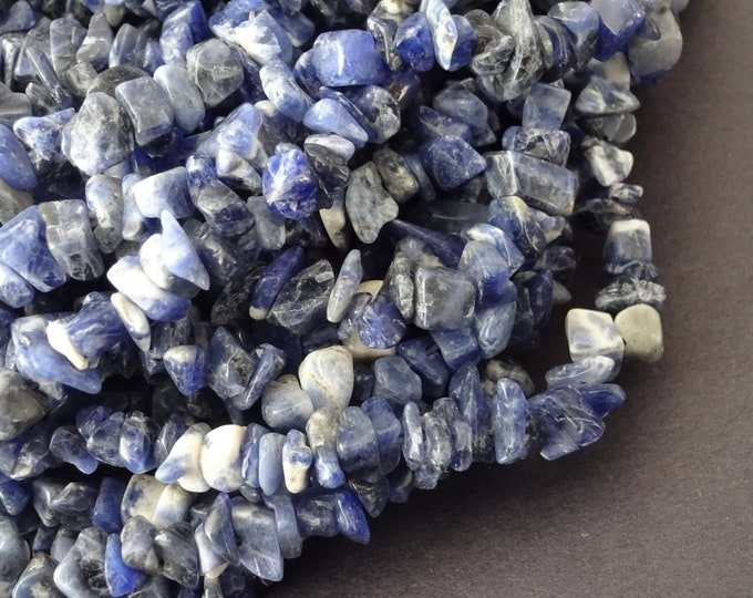 34 Inch Strand Natural Sodalite Chip Bead Strand, About 275 Beads Per Strand, 8-9mm Nuggets, Blue Stone Bead, Sodalite Gemstone Beads