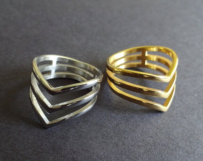 304 Stainless Steel Heart Ring, Silver Or Gold Color, Handcrafted Steel Band, Hollow Design, Perfect Gift For All Women, Ring For Girlfriend