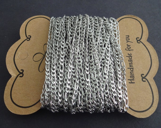 10 Meters 304 Stainless Steel Figaro Chain, Unwelded, 4-6x3mm Chain Bulk Lot, Silver Color, Spool Of Necklace Chain, Necklace Making Supply