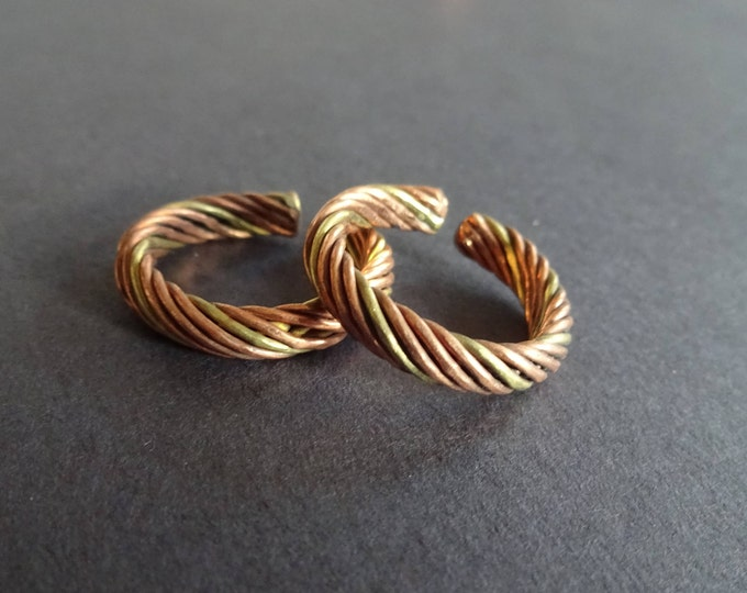 Twisted Copper Ring, Brass and Copper, Adjustable Ring, Spiral Multicolor Ring, Copper Band, Metal Band, Twist Ring, Ring Gift, Ring For Him