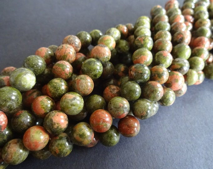 15.5 Inch Strand Natural Unakite Bead Strand, Ball Bead, 8mm Bead, Stone Beads, Natural Gemstone Bead, Green and Pink Bead, About 47 Beads