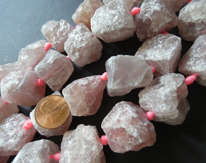 18-37mm 16-17 Inch Natural Strawberry Quartz Bead Strand, About 16-17 Beads, Extra Large, Unpolished, Unfinished, Pink Quartz Stone Bead