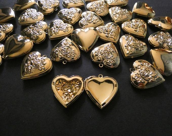 29mm Brass Rose Heart Locket Pendant, Golden, Heart Pendant With Flower Engraving, Metal Charm, DIY Jewelry Making, Flower Photo Locket