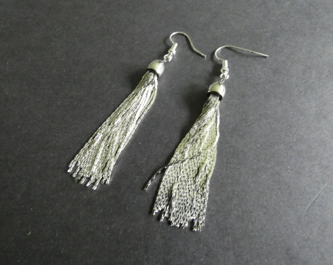 Metal Tassel Earrings, Brass Tassels, Silver Color, Fish Hook, Ladies Earrings, Extra Long, 82mm, Dangle Earrings, Fancy Drop Earring
