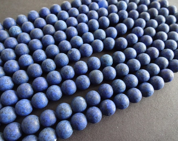 8mm Natural Frosted Lapis Lazuli Ball Bead Strand, About 47 Beads Per Strand, Blue and White, Stone Beads, 15.5 Inch Strand, Unfinished