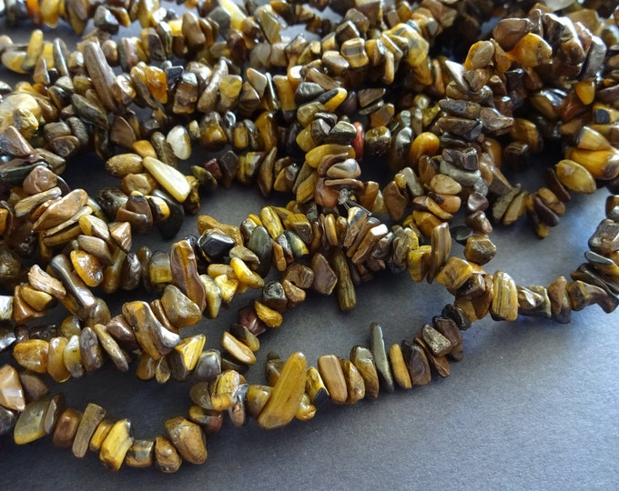 34 Inch Natural Tiger's Eye Bead Strand, Tiger Eye Chip Gemstone Bead Strand, Natural Polished Tiger Eye Drilled Chips, Pieces of Tiger Eye