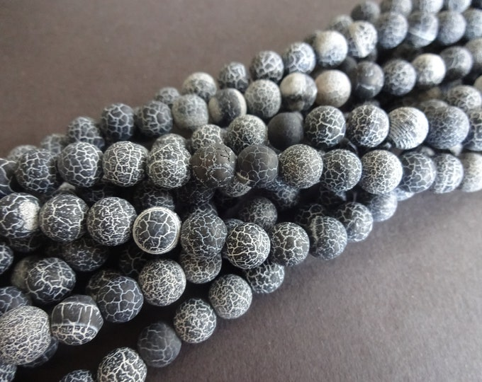 8mm Natural Effloresce Black Agate Bead Strand, Dyed, About 50 Beads, 16 Inch Strand, Frosted Ball Bead, Round, Precious Stone, Unpolished