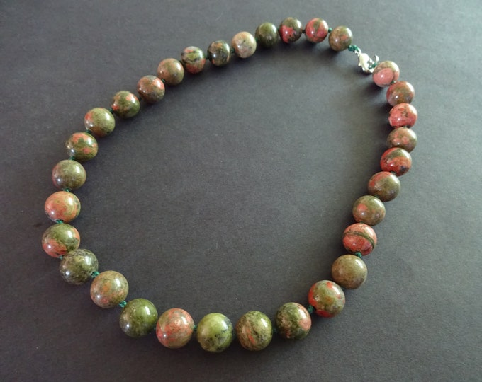 Natural Unakite Bead Necklace, 18 Inch Long, Large Ball Beads, Green Gemstone, With Lobster Claw Clasp, Green and Pink Gemstone, Swirled