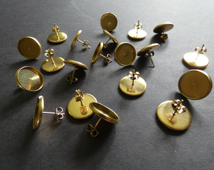 14mm 304 Stainless Steel Stud Earring Settings, Fits 14mm Round Stone, Shiny Golden Stud, .6mm Pin, Ear Posts, Flat Round Studs, 16mm Size