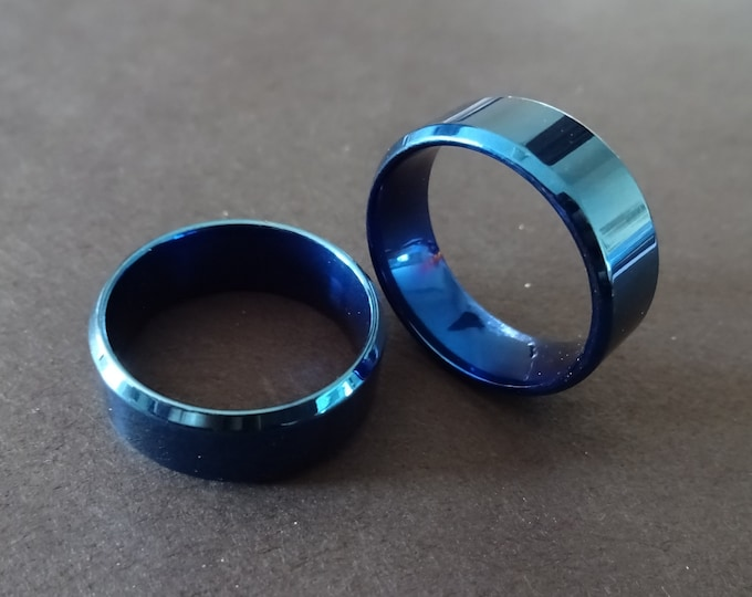 Blue Titanium Steel Ring, Brushed Band, 8mm Wide, Handcrafted Titanium Ring, Men's Ring, Unisex Jewelry, Wedding Band, Engagement Ring