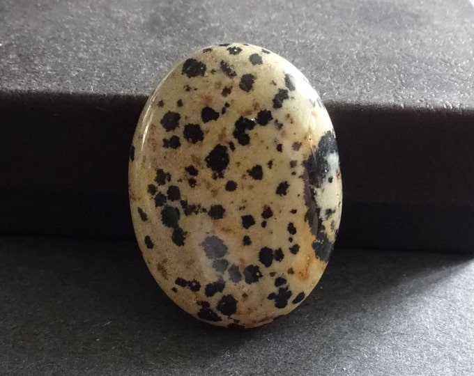 40x30mm Natural Dalmatian Jasper Cabochon, Large Oval, Beige & Black,One Of A Kind,As Seen In Image,Only One Available, Dalmatian Jasper Cab