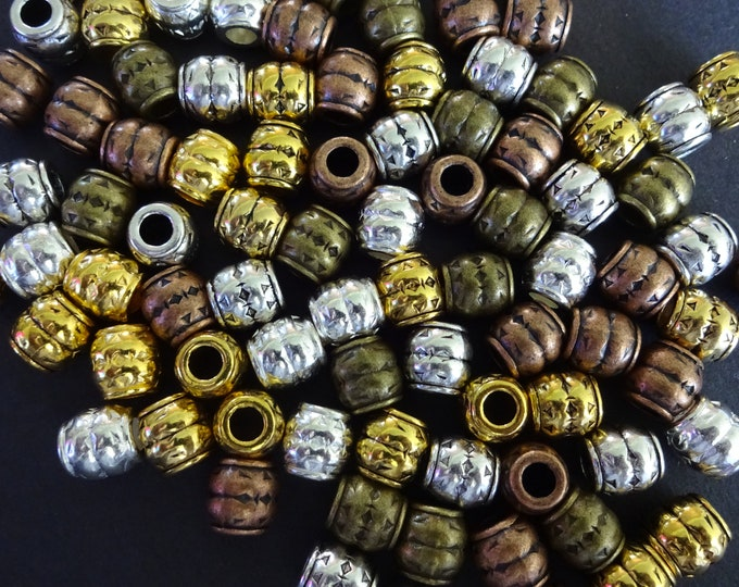 8x8mm Mixed Tibetan Metal Beads, Barrels, 5 Color Mixed Lot Variety, Large 3.5 Holes, European Style Beads, Embellished Metal Barrel Spacers