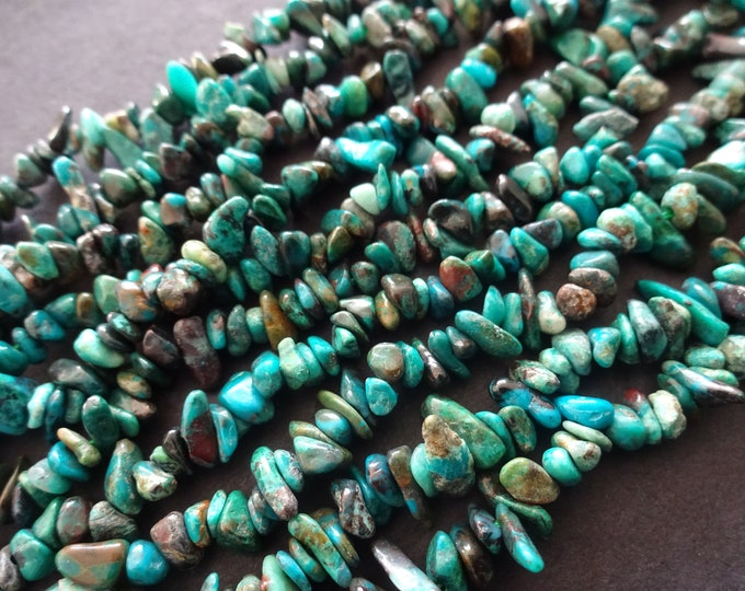 15.74 Inch Natural Chrysocolla Bead Chip Bead Strand, 4-12mm, Natural Gemstone, Stone Bead, Blue and Teal, About 200 Stone Beads, Small
