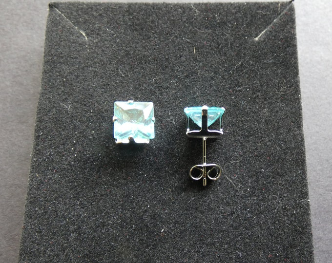 925 Sterling Silver & Glass Crystal Stud Earrings, Square Studs, Blue Glass Stone, Semi Transparent, Square Earring, Studs For Women