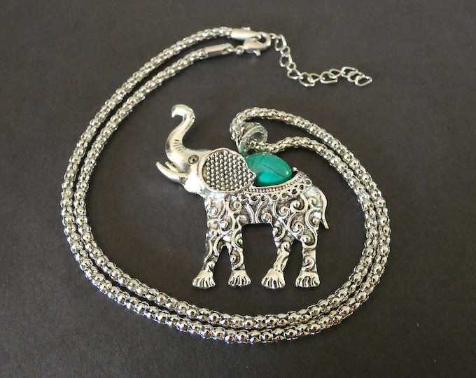 Alloy Metal & Natural Turquoise Elephant Necklace, Dyed, 20 Inch Chain, Vintage Theme, Women's Chain Necklace, Fashion Bohemian Pendant