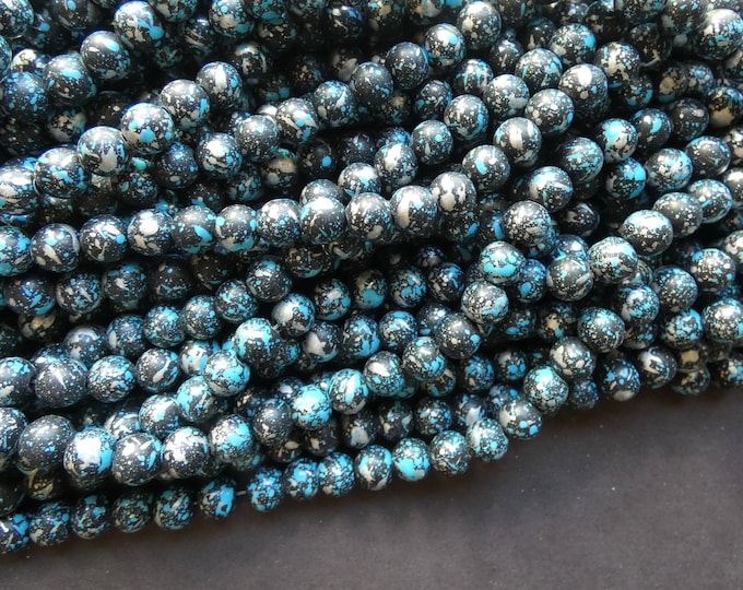 31 Inch 8mm Baked Glass Bead Strand, Ball Beads, Dyed, About 100 Beads Per Strand, Black and Teal, 1mm Hole, Painted, Silver Metallic Spots