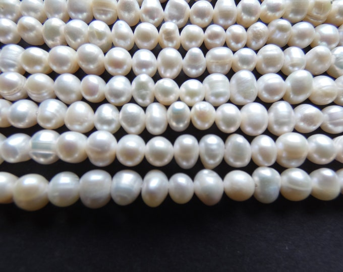 14 Inch 5-6mm Natural Freshwater Pearl Bead, White, About 62 Beads, Round Pearl, .8mm Hole, Lot Of Natural Pearls, Jewelry Making, Grade AB