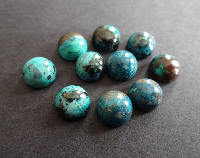 8x4mm Natural Malachite Dome Cabochon, Half Round Gemstone, Polished Gem, Teal and Black Stone, Blue Gemstone, Mixed Color Gem, Unique Stone