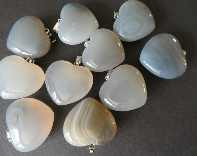 27-29mm Natural Gray Agate Pendant With Alloy Metal, Heart Pendant, Large Charms, Polished Gemstone Jewelry, Agate Heart, Stone Charm