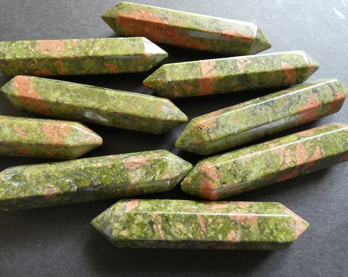 51-55mm Natural Unakite Undrilled Bullet, Faceted, Bullet Charm, Polished Gem, Gemstone Jewelry, Green & Pink, No Hole, Wire Wrapping Stone
