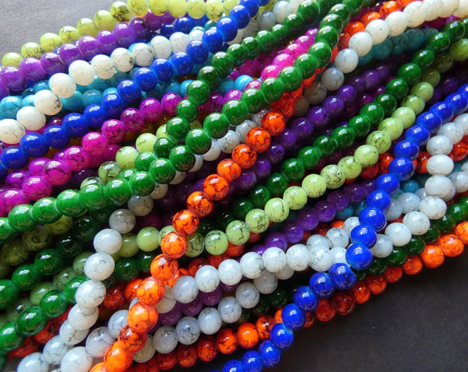 5 Pack 6mm Glass Ball Bead Strands, Drawbench Style, About 133 Beads Per 31 Inch Strand, 6mm Round Bead Lot, Mixed Color, Rainbow and Black