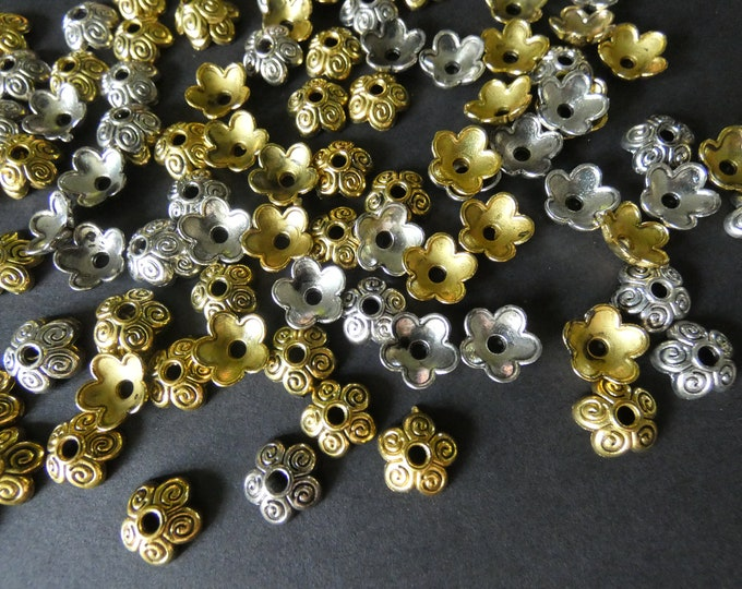 100 Pack 10mm Alloy Metal Bead Caps, Floral Design, Mixed Color, Flower Bead Caps, Jewelry Making Bead Accents, For Round Beads, 2mm Hole