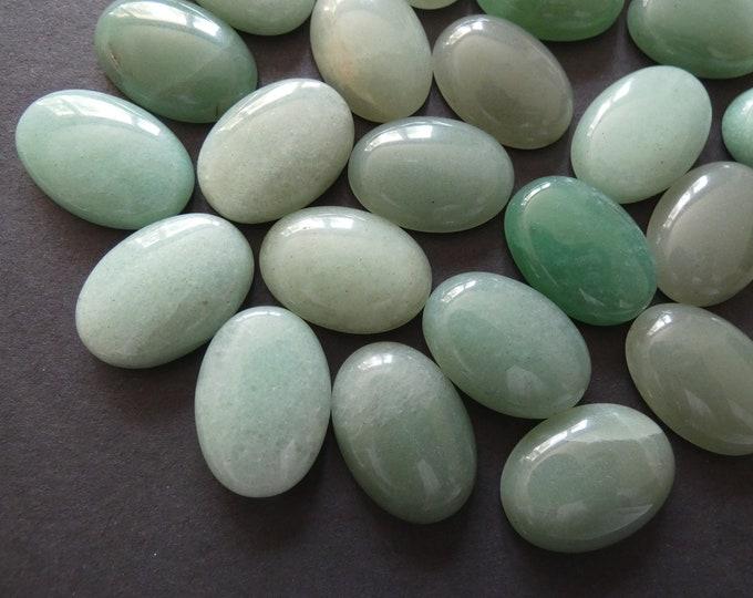 25x18mm Natural Green Aventurine Gemstone Cabochon, Oval Cabochon, Polished Gem, Natural Gemstone, Light Translucent Green, 25x18x6mm Size